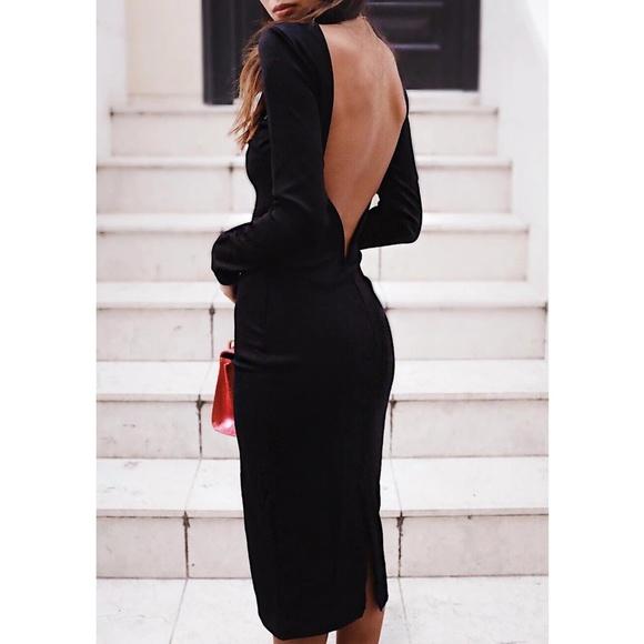 b6f1fc08714 Va Va Voom Black Backless Midi LuLua Dress NWT